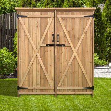 Hanover Outdoor Wooden Storage Shed for Tools, Equipment, Garden Supplies, with Shelf and Latch, HANWS0101-NAT