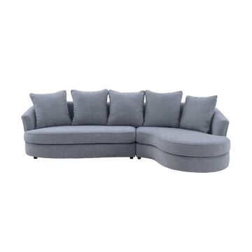 Queenly Fabric Uphostered Corner Sofa Gray - Armen Living