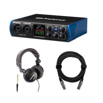 PreSonus Studio 24c USB-C Audio Interface with Headphones and 20' XLR Cable