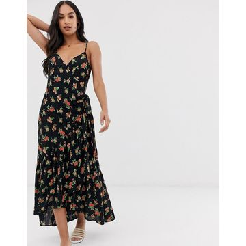 Y.A.S wrap detail floral midi dress with ruffle hem