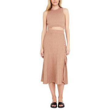 Bardot Ribbed Side-Button Skirt
