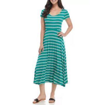 Ronni Nicole Women's Short Sleeve Scoop Neck Striped Midi Dress -