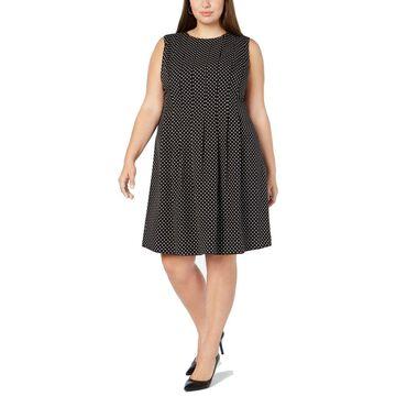 Anne Klein Womens A-Line Dress Black Size 16W Plus Polka Dot Sleeveless