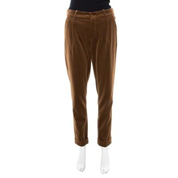Loro Piana Brown Velvet Cuffed Hem Trousers M