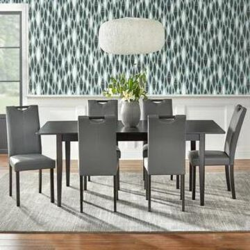 Simple Living Tilo Grey Faux Leather and Wengewood 7-piece Dining Set (Grey)