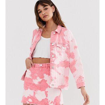 Monki tie dye denim jacket in pink-Multi