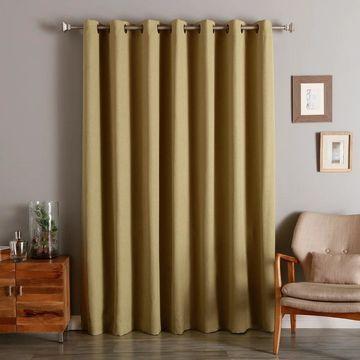 Aurora Home Wide Width Linen Look Room Darkening Grommet Curtain Panel