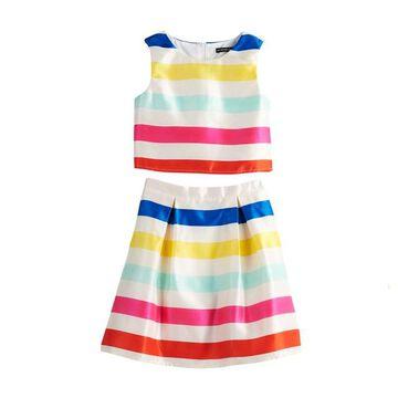 Girls 7-16 My Michelle Striped Crop Top & Skirt Set