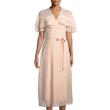 Tiered-Ruffle Lace Long Wrap Dress