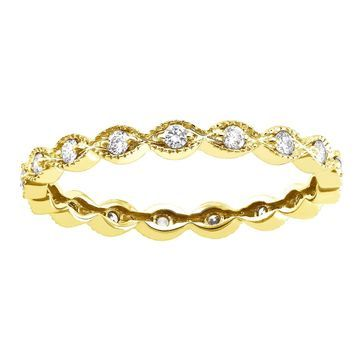 Beverly Hills Charm 10k Yellow Gold 1/4ct Diamond Vintage Eternity Band Ring