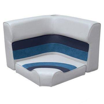 Wise 8WD133-1011 Deluxe Series Pontoon Radius Corner Lounge Seat and Backrest Cushion Set, Grey/Navy/Blue