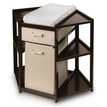 Badger Basket Corner Changng Table with Hamper in Espresso