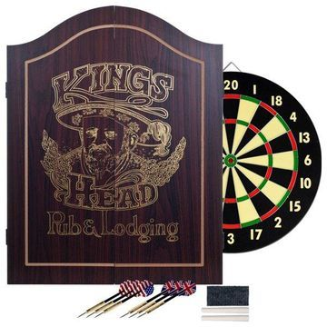 King's Head Dartboard Set, Dark Wood
