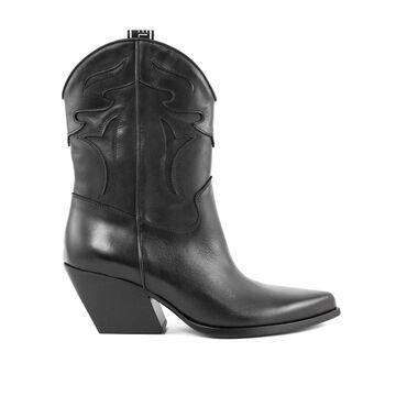 Elena Iachi Texan Ankle Boot In Black Leather