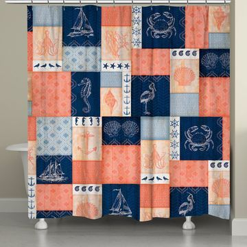 Laural Home& Coral and Navy Coastal Shower Curtain
