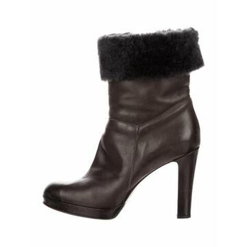 Leather Fur Trim Boots Brown