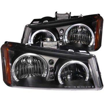 ANZO USA 111212 03-06 SILVERADO CHRYSTAL CLEAR BLACK W/2 LED HALO HEADLIGHTS (SET)