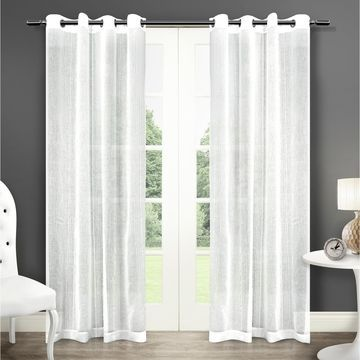 ATI Home Sabrina Sheer Window Curtain Panel Pair with Grommet Top