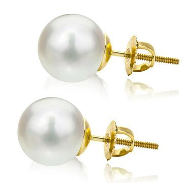 DaVonna 14k Yellow Gold Round White Akoya High Luster AAA Pearl Screw-back Stud Earrings