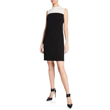Sleeveless Shift Dress with Sheer Mock-Neck