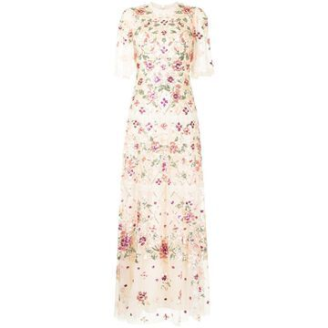 embroidered-floral maxi dress