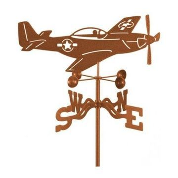 EZ Vane P51 Mustang Airplane Weathervane With Post Mount
