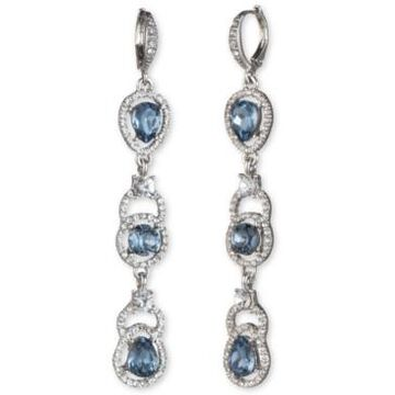 Givenchy Silver-Tone Stone & Crystal Halo Linear Drop Earrings