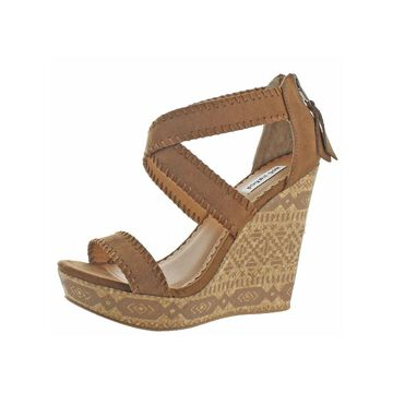 Not Rated Womens Remi Wedge Sandals Faux Suede Aztec Print