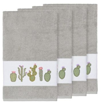 Authentic Hotel and Spa Turkish Cotton Cactus Embroidered Light Grey 4-piece Bath Towel Set