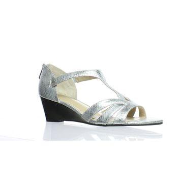 Adrienne Vittadini Womens Corette Silver Sandals Size 10