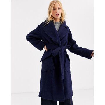ASOS WHITE wool belted coat-Navy
