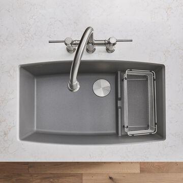 BLANCO Performa Undermount 32-in x 19.5-in Metallic Gray Single Bowl Kitchen Sink Walnut   440067