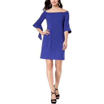 Thalia Sodi Womens Off-The-Shoulder Bell Sleeves Shift Dress