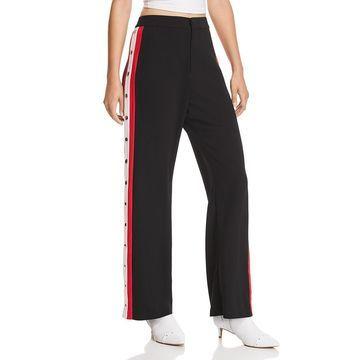 Bardot Womens Striped Snap Detail Pants