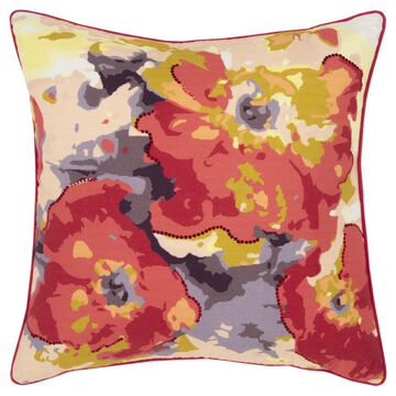 Rizzy Home Connie Post 20-in x 20-in Multi 100% Cotton Duck Indoor Decorative Pillow in Red   CNPT15385MU002020