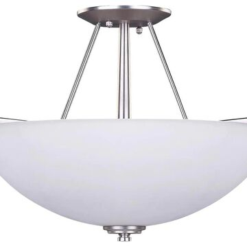 Canarm New York 15-in Brushed Nickel Semi-flush Mount Light | ISF256A03BPT