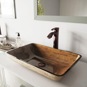VIGO Amber Sunset Glass Vessel Bathroom Sink and Otis Faucet Set