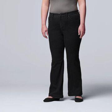 Plus Size Simply Vera Vera Wang Stretch Bootcut Jeans, Women's, Size: 14 W, Black
