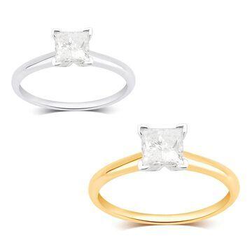 Divina 14K White and Yellow Gold 1 1/4ct TDW Princess Diamond Engagement Ring
