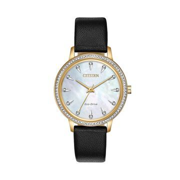 Citizen Eco-Drive Women's Silhouette Crystal Black Leather Watch