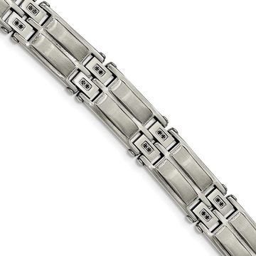 Chisel Stainless Steel Satin and Polished with Black CZ Link Bracelet