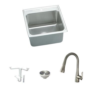 Elkay Lustertone Classic Drop-In 22-in x 22-in Lustrous Satin Single Bowl 1-Hole Kitchen Sink All-in-One Kit