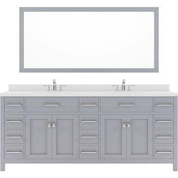 Virtu USA Caroline Parkway 78-in Gray Undermount Double Sink Bathroom Vanity with Dazzle White Quartz Top (Mirror and Faucet Included)