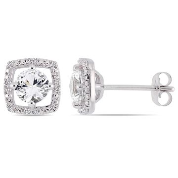 Miadora 10k White Gold Created White Sapphire and Diamond Accent Floating Square Halo Stud Earrings