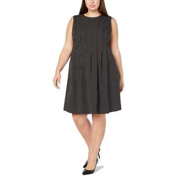 Anne Klein Womens Dress White Plus A-Line Polka Dot