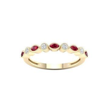 Imperial Gemstone 10K Yellow Gold Ruby 1/10 CT TW Diamond Women's Band