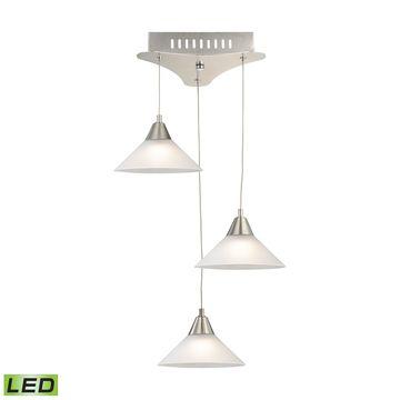 Alico Cono 3 Light LED Pendant In Satin Nickel With White Glass