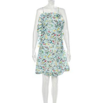 Msgm Silk Knee-Length Dress Blue Msgm Silk Knee-Length Dress