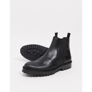 Selected Homme leather chelsea boot with chunky sole in black