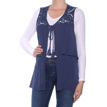 AUGUST SILK Womens Blue Ruffled Tie Sleeveless Open Cardigan Vest Top Size: M